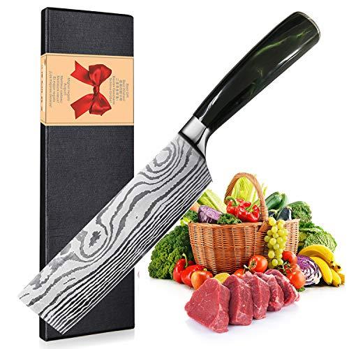Hackmesser - 17cm Chinesisches Kochmesser - Deutsch Hochgekohlter Edelstahl Hackbeil professionelles Küchenmesser mit Scharfe Klinge und ergonomischer Griff