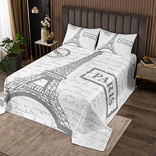Eiffelturm Tagesdecke 220x240cm Pariser Stadtbild Steppdecke für Kinder Retro Alte Zeitung Gedrucktes Bettüberwurf Weiß Morden Paris Wohndecke Bettüberwurf 3St