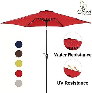 Grand patio 9 FT Aluminum Patio Umbrella, UV Protected Outdoor Umbrella with Push Button Tilt and Crank, Red