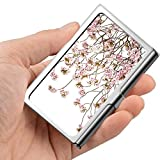 Tarjeta de visita profesional, caja de la cartera de acero inoxidable Titular de la tarjeta de identificación de tarjeta de crédito Cherry Blossom