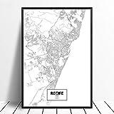 Leinwanddruck,Recife Schwarz Weiß Benutzerdefinierte Welt