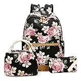 School Backpack Set Students Casual Travel School Bookbag Teens Girls Boys Schoolbag (Flower Black - 3pcs)