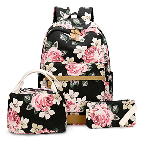 School Backpack Set Students Casual Travel School Bookbag Teens Girls Boys Schoolbag (Flower Black - 3pcs)