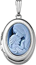 PicturesOnGold.com 14k White Gold Oval Mother and Child Cameo Locket 5/8 Inch X 3/4 Inch Solid 14K White Gold
