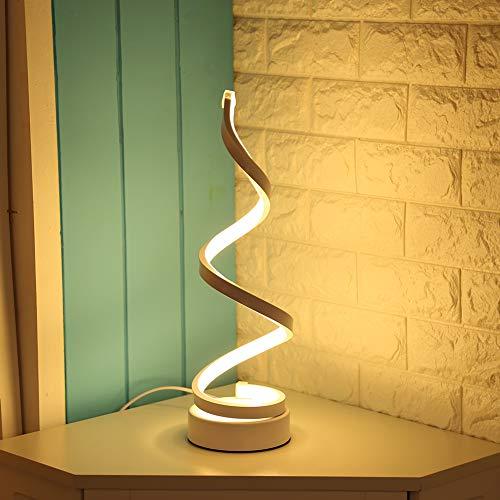 Lampada da Tavolo a Spirale LED Lampada da Comodino Moderna Design Lampada da Scrivania Curvo per Studio, Soggiorno, Camera da Letto (Bianco caldo)
