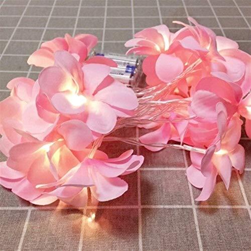 Romantisch Luz de Navidad, la violeta blanca Frangipani, llevó las luces, la batería, luces de cadena Usb, adecuadas for bodas, eventos y fiestas familiares Weihnachtsdekoration (Color : Pink)
