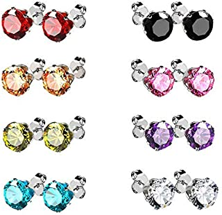 Stainless Steel Stud Earrings Cubic Zirconia Multicolor Set 18K White Gold Pated 8 Pairs Multi-Color