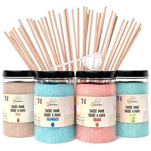Greendoso- Zucchero Colorato per Zucchero Filato 1,4kg (Fragola-Cola-Lampone-Mela) per Macchina Zucchero Filato + 50 Bastoncini da 30 Cm (Offerti) + 1 Cucchiaio Misura