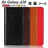 DeftD Galaxy A20 SC-02M SCV46 用 ケース 本革 レザー 携帯 カバー 手帳型 シンプル 耐衝撃 ……