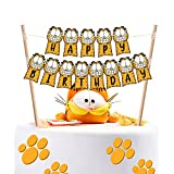 LILIPARTY Garfield Happy Birthday Cake Bunting Toppers Garfield Theme Birthday Party Baby Shower Decoration Supplies, Pre-String Together