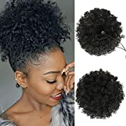 Afro Puff Drawstring Ponytail, Premium Synthetic Curly Natural drawstring ponytails for black women