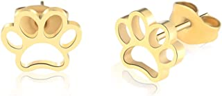 MANVEN Hypoallergenic Paw Print Stud Earrings Stainless Steel Jewelry Gift for Women Girls