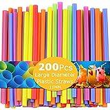 200 Piezas Pajitas de Plástico Extra Anchas, Pajitas de Batido Jumbo Desechables Ideal para té Boba, Batidos, Fiesta Multicolores,11 mm