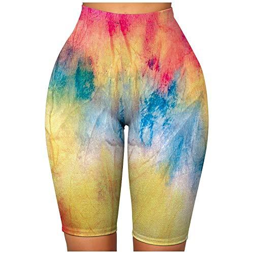 Shorts Mujer de Deporte Tie-Dye Pantalones Cortos Deportivos Pantalón de Yoga Leggins Push Up de Cintura Alta Mallas Transpirables Elásticos Leggings para Running Training Fitness