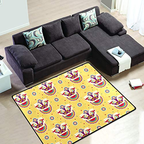 Area Rugs Chinese Lion Dancing Head Yellow Non-Slip Kitchen Rug 7'x5' Large Indoor Carpet for Bedroom Kid's Room Dining Room Living Room Yoga Mat Modern Home Decor