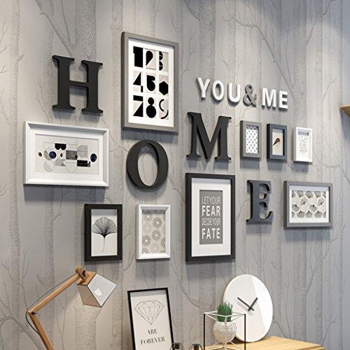 Photo Wall Set - 9 ensembles de mur de combinaison de photo numérique mur, fond de chambre à coucher moderne Restaurant Photo Wall Album Wall Hanging