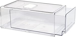 GREENTEC Pull Out Fridge Organizer Drawer, Stackable Refrigerator Storage Bins, Clear Food Containers for Kitchen, BPA Free, PET, X-Large