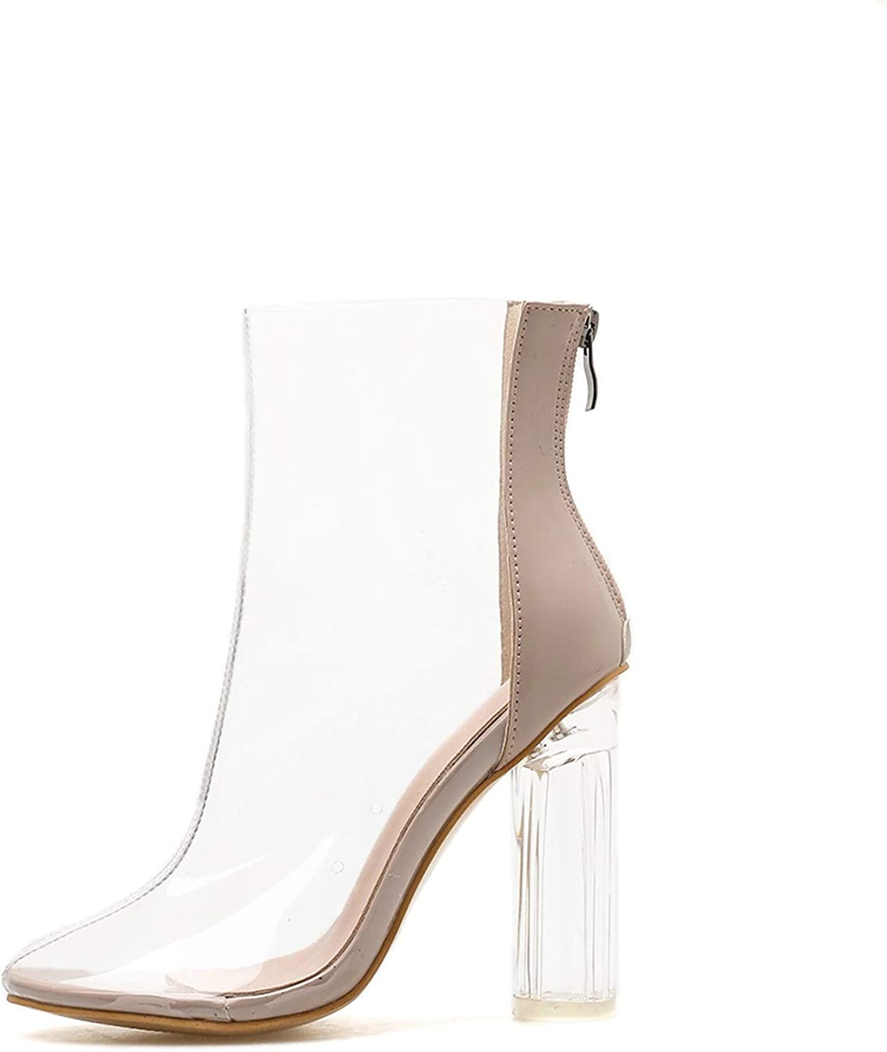 Plus Size Transparent Boots Chunky High Heels Sandals Round Toe Crystal Heel Princess Boots shoes