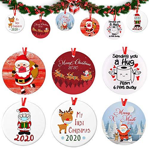 2020 redondos Colgante Árbol Navidad 6 Pcs Kit De Decoración Navideña Adornos Colgantes de Navidad,para Decoración del Árbol De Navidad Kit De Decoración Navideña Personalizado Regalo Creativo ⭐