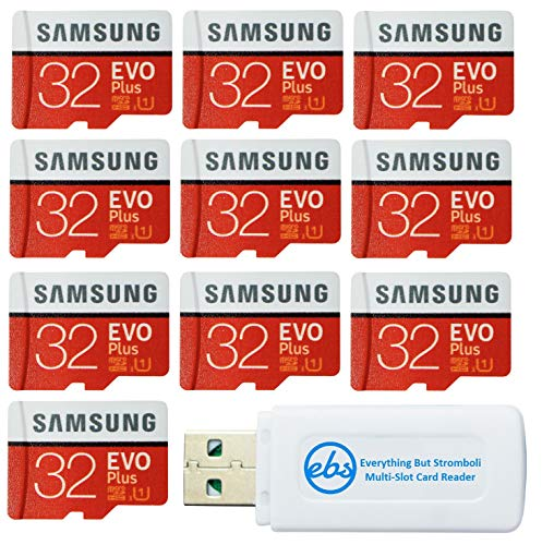 Samsung 32GB Evo Plus MicroSD Card (10 Pack EVO+) Class 10 SDHC Memory Card with Adapter (MB-MC32G) Bundle with (1) Everything But Stromboli Micro & SD Card Reader