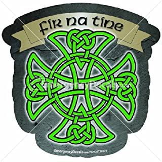 Irish Firefighter Maltese Cross 4.25 inch decal: Fir na tine
