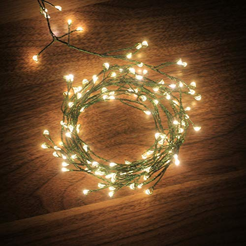 6feet 120 LED Starry Lights, Dailyart Battery Operated Waterproof Dark Green Copper Wire Fairy Light String Light for Garland, Wreath, Patio, Garden, Wedding, Party, Xmas