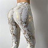 MQQM Yoga Leggings Damen,Super elastische Hot Stamping Yogahose, Hüftlifting-Fitnesshose mit hoher...