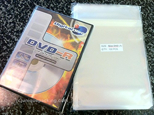 UNIQUEPACKING 5 3/4 x 7 15/16 Clear SLIM DVD Case Cello Cellophane Bags - Pack of 100