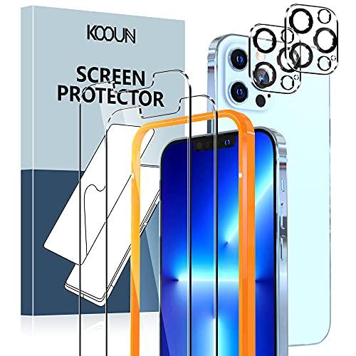 KOOUN Kompatibel mit iPhone 13 Pro Max Panzerglas (6.7 Zoll),Enthalten 2 Stück Handy Schutzfolie und 2 Stück Kamera Folie,9H Härte Klar Schutzgla Panzerfolie,mit Rahmen-Installationshilfe