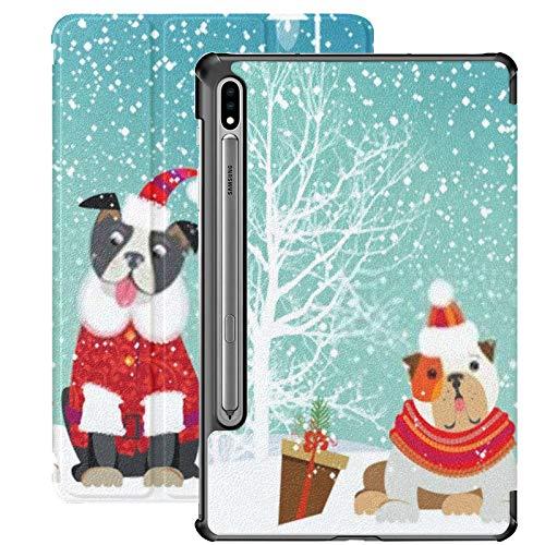 Funda para Galaxy Tab S7 Funda Delgada y Liviana con Soporte para Tableta Samsung Galaxy Tab S7 de 11 Pulgadas Sm-t870 Sm-t875 Sm-t878 2020 Release, Two Adorable Puppies Cute Christmas Outfit