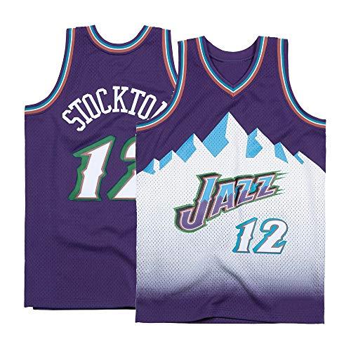 Men's Stockton Shirts Jerseys 12 Basketball AdultSports Athletics Retro John Purple (Pueple, Small)