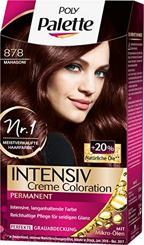 Poly Palette Intensiv Creme Coloration, 878 Mahagoni Stufe 3, 3er Pack (3 x 115 ml)