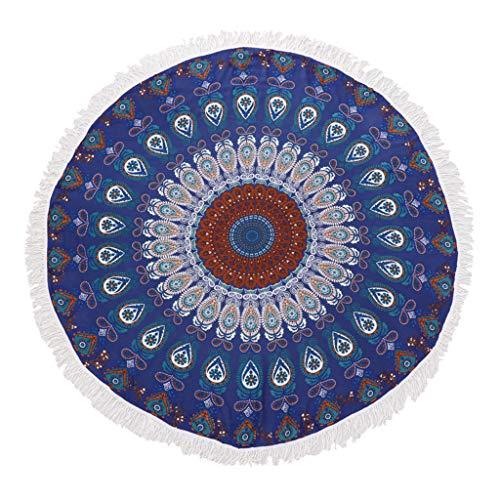 Hellery Tapis De Yoga Rond De Serviette De Plage Piscine Maison Tapisserie Ronde Bohemian - Bleu foncé, 150cm