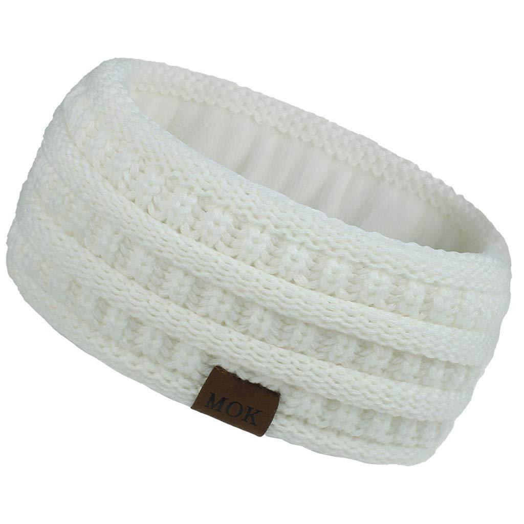 JoeDSE Womens Winter Warmer Headband Fuzzy Head Wrap Soft Stretchy Thick Knit Headband (White)