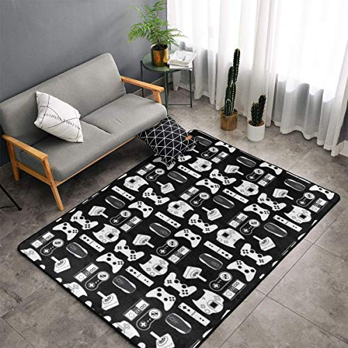 O-X_X-O Large Area Rug Dining Room Living Room Bedroom Carpet Luxury Non-Skid Super Soft Floor Carpet Machine Washable Rug 60x39 Inches (Video Game Weapon Funny Gamer Black)