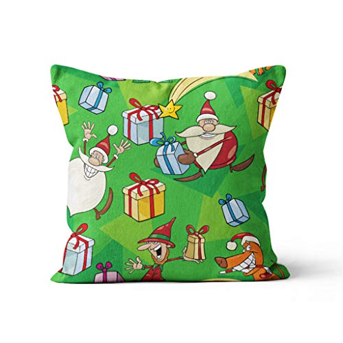 jieGorge Home Decor Cushion Cover Christmas Print Pillowcase Throw Pillow Covers, Home Decor for Christmas Day (F)