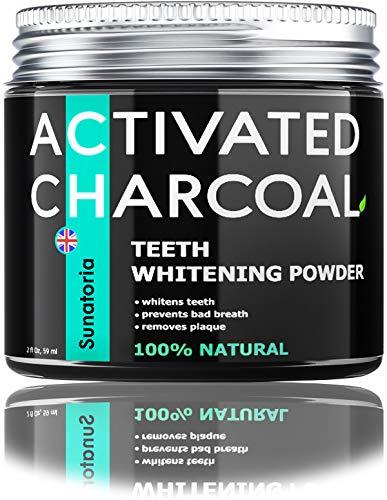 Polvo blanqueador de dientes de carbón activado – Blanqueador de dientes de coco – Removedor eficaz manchas de dientes para una sonrisa más saludable – Producto del Reino Unido por Sunatoria – Fórmula mejorada