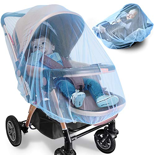 Mosquito Net for Stroller - 2 Pack Durable Baby Stroller Mosquito Net - Perfect Bug Net for Strollers, Bassinets, Cradles, Playards, Pack N Plays and Portable Mini Crib (Blue)