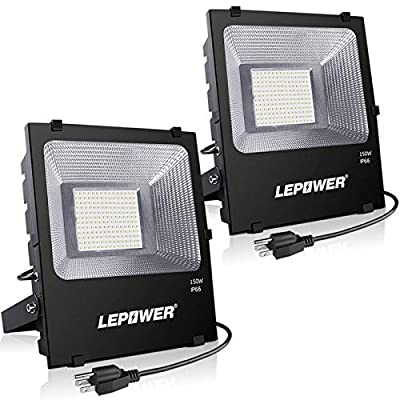 LEPOWER LED Flood Light Outdoor, 150W Super Bright LED Work Lights Plug in, 11000lm 6000K White Light, IP66 Waterproof Outdoor Floodlights for Garage, Playground, Backyard, Basketball Court(2 Pack)
