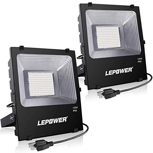 LEPOWER LED Flood Light Outdoor, 150W Super Bright LED Work Lights Plug in, 11000lm 6000K White Light, IP66 Waterproof Outdoor Floodlights for Garage, Playground, Backyard, Basketball Court(2 Pack)