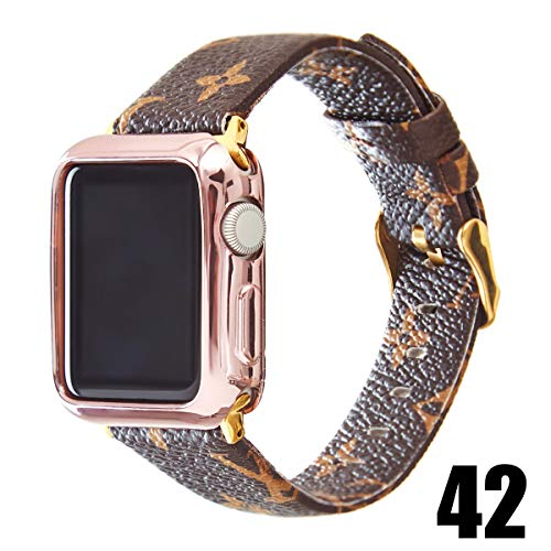 GOKE Brown Flower Printed Luxury PU Vegan Leather Watch Band Strap Compatible with 38mm 42mm Apple iWatch Series 3 2 1 (Brown LV, 38mm)
