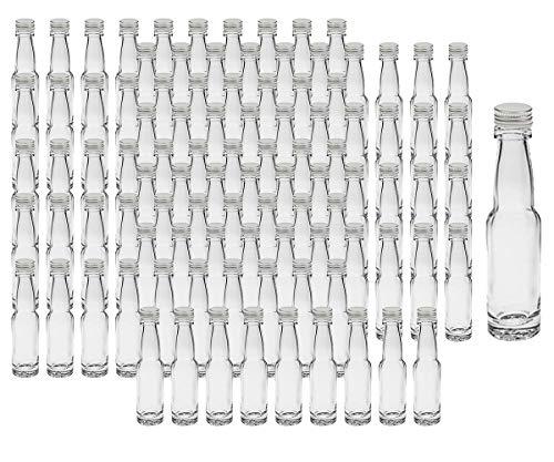 """100 leere Mini Glasflaschen\""""Lang\"""" 40 ml Silber Glasfläschchen kleine Flaschen incl. Schraubverschluss, Likörflaschen zum selbst Abfüllen Schnapsflaschen Essigflaschen Ölflaschen"""