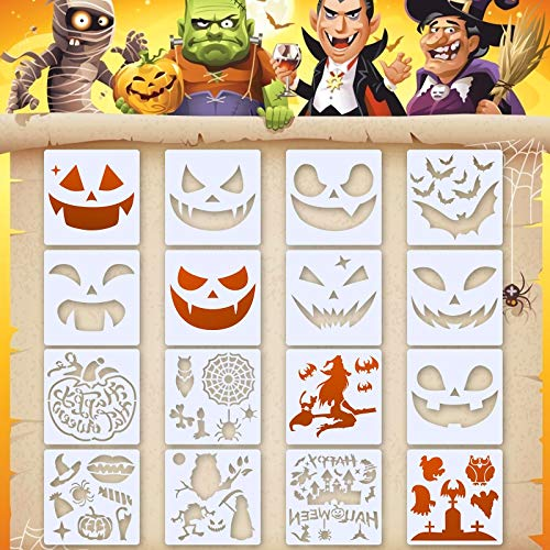 KATOOM 16pcs Halloween Stencils Templates,Reusable Plastic Drawing Crafts Pumpkin Faces Skeleton Owl Bat Witch Spider Castle Pattern Stencil for DIY Card Art Painting Spraying Body Window Door