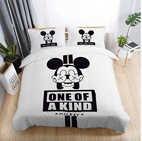 NTT Duvet Cover Black Mickey 3D Printed Bedding Sets Duvet Cover Pillowcases Polyester Bedlinen For Kids Adults 3Pcs Set 150 * 200Cm