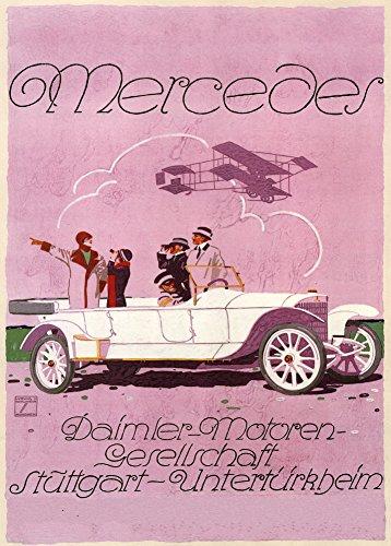 Vintage Automarke Mercedes, Stuttgart, Germany C1914Poster von Ludwig Hohlwein 250gsm, Hochglanz, A3, vervielfältigtes Poster