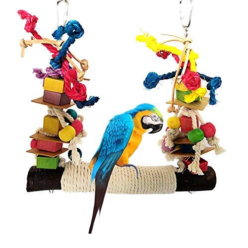 cypressen Bunten Vogelspielzeug, Vögel Spielzeug Parrot Chew Toy Bunte Baustein Baumwolle Seil Papagei Schaukel Spielzeug mit Naturholz Hängematte Hängenden für Sittiche Nymphensittiche, Papageien