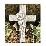 Radami, angelo tomba o croce commemorativa decorazione tomba cuore per tomba con 2 fili rigidi da fissare o inserire nel terreno (croce grigio/bianco)