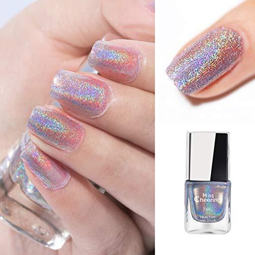 UNSKAM Nagellack 7 ml Holographic Nagellack Shining Glitter Superglanz Nagelkunst für Mädchen Kindergeburtstag DIY Nagel Kunst Dekoration