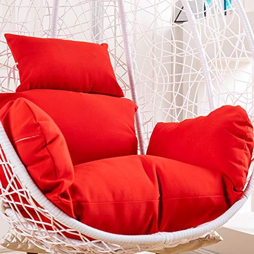 ZJHTK Cojín colgante para silla de huevo, cojín de ratán con tejido de columpio, hamaca para tumbona, sofá o cesta colgante (sin silla), color rojo