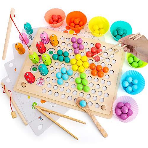 BeebeeRun Holzspielzeug Brettspiele Kinder,Angelspiel Magnetisches Clip Perlen Montessori Spielzeug,Vorschule Lernspielzeug Geschenk ab Kinder Mädchen Jungs 3 4 5 Jahre